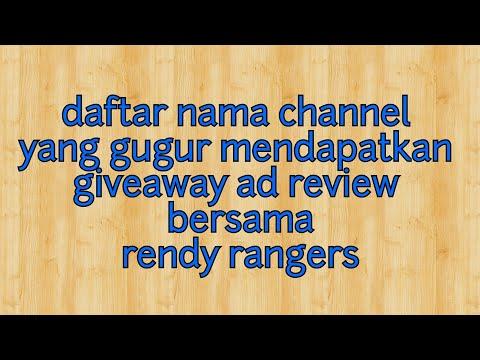 DAFTAR NAMA YANG GUGUR DI GIVEAWAY AD REVIEW BERSAMA RENDY RANGERS