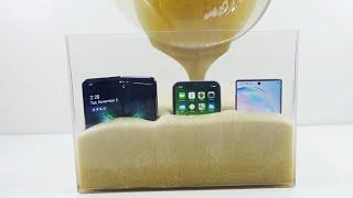 Samsung Galaxy Fold vs iPhone 11 vs Note 10 in Expanding Liquid Foam that Hardens!