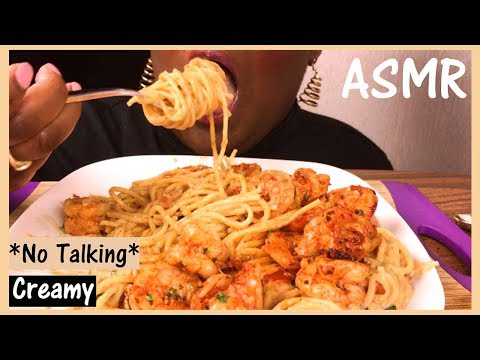ASMR CREAMY Spicy Shrimp 🍤 Alfredo Pasta Eating Sounds Mukbang 먹방 No Talking