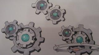 Klinklang  - (Pokémon) - How to draw Pokemon: No.599 Klink, No.600 Klang, No.601 Klinklang