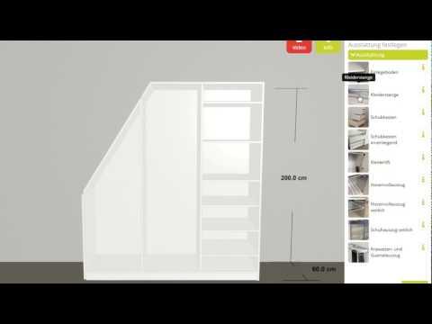 """schrankwerk.de - Der 3D-Konfigurator für Möbel nach Maß - Schritt 2 """"Ausstattung"""""""