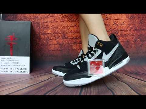 "Air Jordan 3 Tinker ""Black Cement"" on feet"