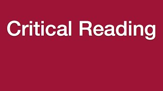 Lesson 9 - Critical Reading