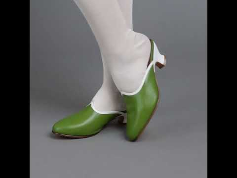 PRE-ORDER Sophie 18th Century Leather Mules (Green)(1760-1790)