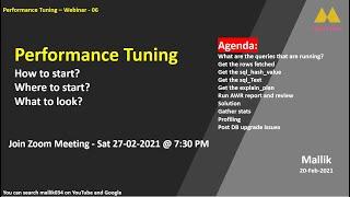 Webinar-06 - Performance Tuning    Profiling in Oracle    Oracle Database Performance Tuning
