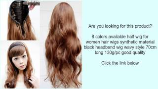 8 colors available half wig for women hair wigs synthetic material black headband wig wavy
