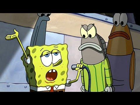 Grün grauer Streifenpullover | Spongebob