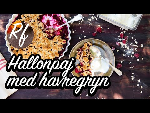 Baka en hallonpaj med havregryn i smuldegen. Du kan ta färska eller frysta hallon. Gott med vaniljvisp, hemgjord vaniljsås, vaniljglass eller vispad grädde.>