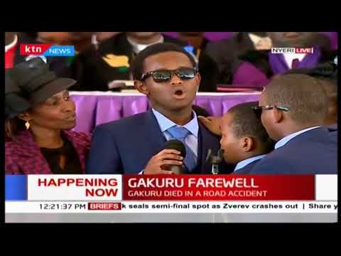 Emotional: The late Wahome Gakuru's son sings to his late father