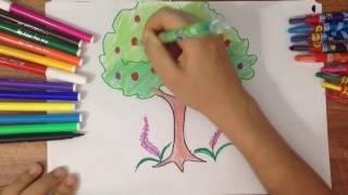 dạy bé vẽ tranh đơn giản - vẽ cây đẹp, tô màu đẹp