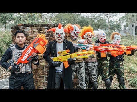 LTT Films : Silver Flash Black Man Nerf Guns Fight Criminal Group Tiger Mask Finish