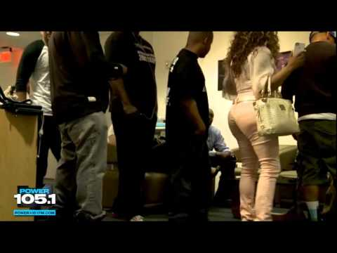 Lil Kim in the same room with Charli Baltimore at Power1051 THE BREAKFAST CLUB 2012