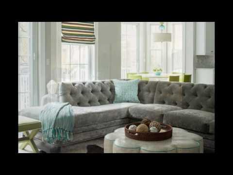 Gray Velvet Sectional Sofa For Living Room
