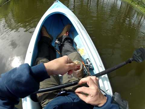 GoPro Kayak Pond Fishing, Largemouth Bass caught and missed
