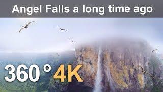 360 video, Angel Falls millions of years ago. 4K aerial video