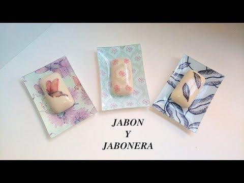 JABON Y JABONERA CON DECOUPAGE (para regalar día de la madre)
