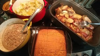 Sunday Dinner: Marjoram, butter & garlic baked chicken with red potatoes , cabbage, black eyed peas! - Video Youtube