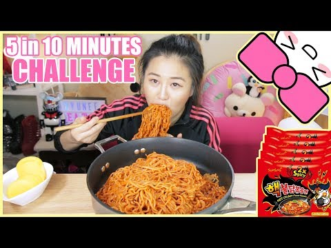 5 NUCLEAR FIRE NOODLES in 10 MINUTES CHALLENGE!!