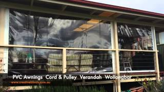 Clear PVC Cord Pulley Verandah Drop Awning