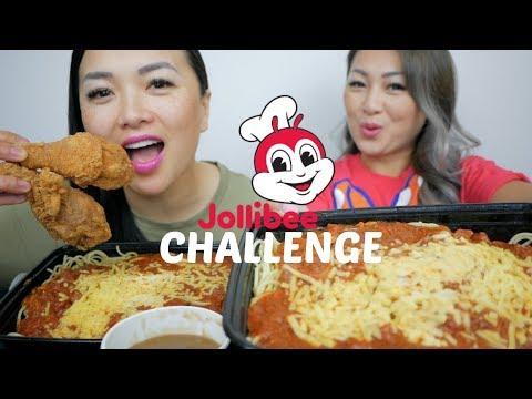 Jollibee Spaghetti Challenge | Sister Mukbang  | N.E Let's Eat