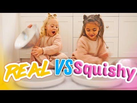 ULTIMATE SQUISHY FOOD VS REAL FOOD CHALLENGE! (BESTIES EAT IT!)