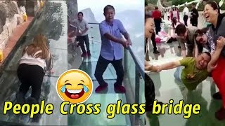 People are terrified to cross glass bridge | Glass bridge crack effect | Glass bridge funny moments
