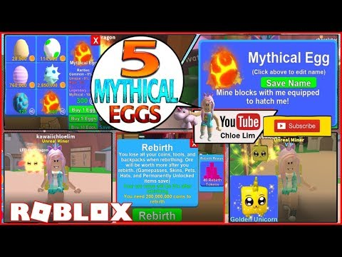 Roblox Gameplay Mining Simulator 5 Mythical Eggs Giveaway - mining simulator roblox mythical eggs codes