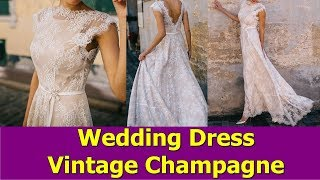 Vintage Champagne Lace Bohemian Wedding Dress A Line Cap Sleeve Sexy Backless Bridal Gown 2019