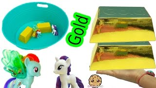 2 Biggest Super Gold Dig It Surprise Digging Gold Bar In Water with My Little Pony Rainbow Dash