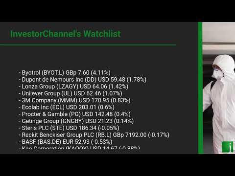 InvestorChannel's Disinfection Watchlist Update for Tuesday, October 20, 2020, 16:30 EST