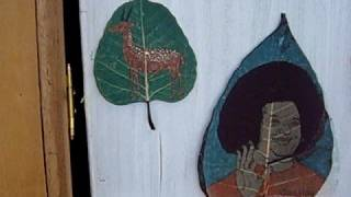 preview picture of video 'Dry Peepul Peepal Pipul Leaf Drawing Traditional Paint Art'