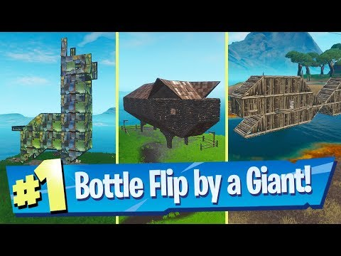 Land a Bottle Flip on a target near a Giant Fish, Llama or Pig - Fortnite Bullseye Challenge