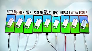 Note 9 vs S9+ / iPhone X / OnePlus 6 / Find X / NEX / Note 8 / P20 Pro / Pixel 2 Fast Charging Test