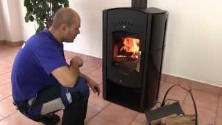 Отопительная печь-камин Haas+Sohn Trino с водяным контуром ( кафельная печь , каминофен ) від компанії House heat - відео