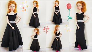 How To Make No Sew No Glue Doll Dresses/DIY Barbie Clothes No Sew No Glue/Very Easy Barbie Clothes