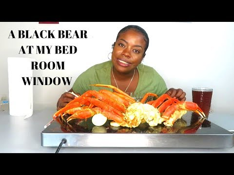 SEAFOOD BOIL MUK BANG | Storytime A BEAR AT MY BEDROOM WINDOW|