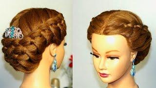 Прическа с плетением  4- прядных кос на средние волосы.