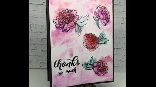 Watercolored Peonies using Watercolors and GESSO