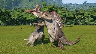 2 Torosaurus(Modified) VS T-rex, I-Rex, Spinosaurus, I-Raptor and Giganotosaurus - JWE
