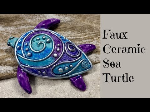 Faux Ceramic Sea Turtle With Lucy Clay Glassymer Surface Treatment DIY Liquid Polymer Clay Tutorial
