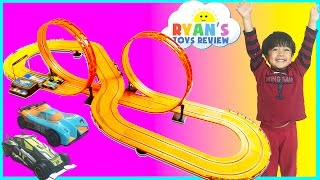 GIANT HOT WHEELS Electric Slot Car Track Set RC Remote Control Racing Toy Cars for Kids Egg Surprise