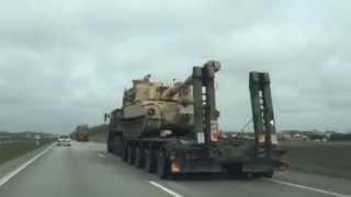 JAV karinė technika kelyje Klaipėda-Vilnius
