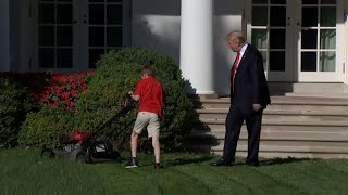 Cute kid mowing White House lawn — for free — only reminds us that Trump stiffs his contractors