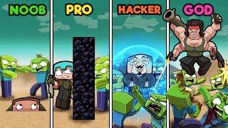 Build to Survive ZOMBIE APOCALYPSE! (Noob vs Pro vs Hacker vs God)