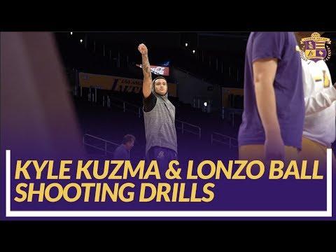 Lakers Nation: Kyle Kuzma & Lonzo Ball Shooting Drills Pre-game