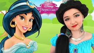Costume Disney Princess Jasmine & Kids Makeup Alisa Play With DOLL & Real Princess Dresses