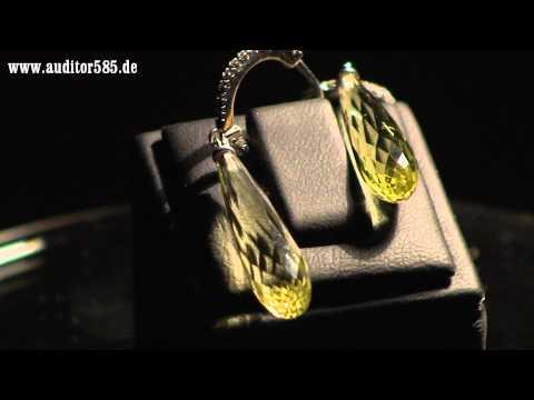 Ohrringe Gold mit Brillanten und Zitrin