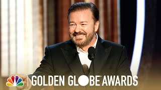 """Watch Ricky Gervais' hilariously biting monologue from the 77th Annual Golden Globe Awards. » Subscribe for More: http://bit.ly/NBCSub » Stream Your Favorite Shows Anytime: http://bit.ly/NBCFullEpisodes  NBC ON SOCIAL: NBC YouTube: http://www.youtube.com/nbc Like NBC: http://Facebook.com/NBC Follow NBC: http://Twitter.com/NBC NBC Tumblr: http://NBCtv.tumblr.com/ NBC Pinterest: http://Pinterest.com/NBCtv/ NBC Google+: https://plus.google.com/+NBC NBC Instagram: http://instagram.com/nbc  Find NBC trailers, full episode highlights, previews, promos, clips, and digital exclusives here.  ABOUT THE 2020 GOLDEN GLOBE AWARDS: Global comedy superstar Ricky Gervais, in his unique and legendary fashion, will resume hosting duties for a record fifth time at the 77th Annual Golden Globe Awards. The Golden Globes serve as the official kickoff to the 2020 awards season. Twenty-five categories - 14 in film and 11 in television - are voted on by the Hollywood Foreign Press Association (HFPA). The Golden Globe Awards, often referred to as """"Hollywood's Party of the Year™,"""" is one of the biggest nights on the calendar for live viewing. It's also one of the few awards shows that combines the honorees of both film and television.  Ricky Gervais' Monologue - 2020 Golden Globes https://youtu.be/LCNdTLHZAeo  NBC on YouTube http://www.youtube.com/user/nbc"""