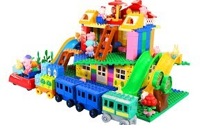 Peppa Pig Blocks Mega House Construction Sets - Lego Duplo House Creations Toys For Kids