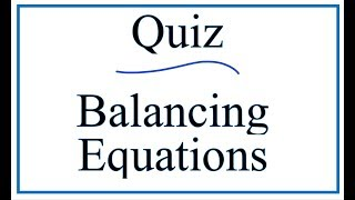 Balancing Equations Quiz And Answers